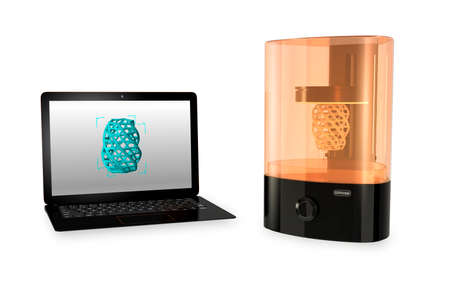 solidify: SLA  3D printer and Laptop computer with 3D printing model  on the screen.