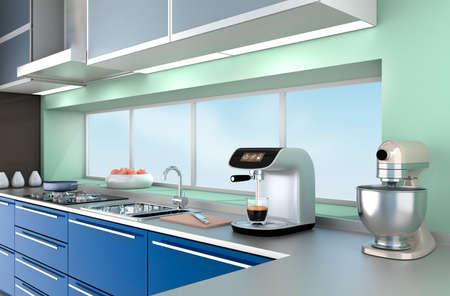kitchen cabinets: Modern kitchen interior with stylish coffee maker, food mixer. Stock Photo