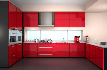 Modern kitchen interior with stylish coffee maker, food mixer. 写真素材