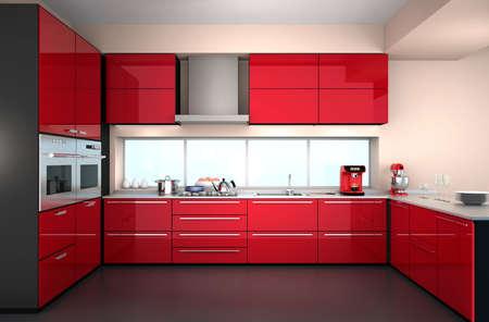mostradores: Interior de la cocina moderna con cafetera estilo, batidora.