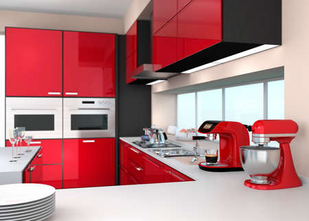 red kitchen: Modern kitchen interior with stylish coffee maker, food mixer. Stock Photo