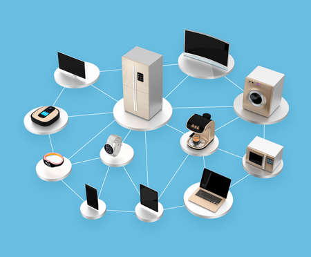 tv network: Smart appliances in network. Concept for Internet of Things.