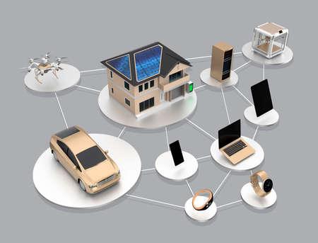スマート省エネ製品のエコシステムの概念。クリッピング パスを利用できます。