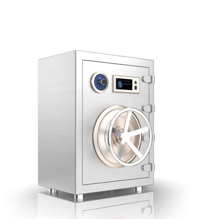 vaulted door: Closed metal safe with touch screen isolated on white background. This smart metal safe  support authentication from smart phone by wireless connection.