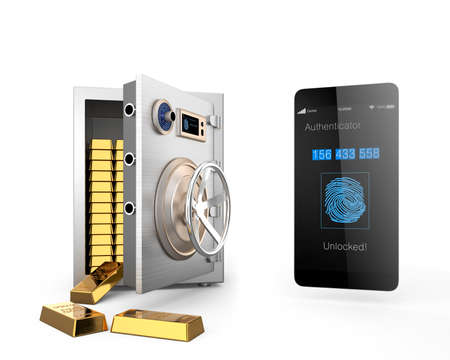 Smart phone authentication app unlocked metal safe and many gold bars in the safe. Clipping path available. photo