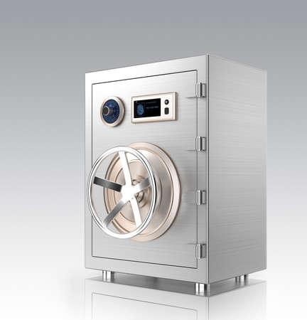 caja fuerte: Seguro con pantalla t�ctil aislado en el fondo blanco de metal cerrada. Esta autenticaci�n soporte seguro de metal inteligente del tel�fono inteligente de conexi�n inal�mbrica.