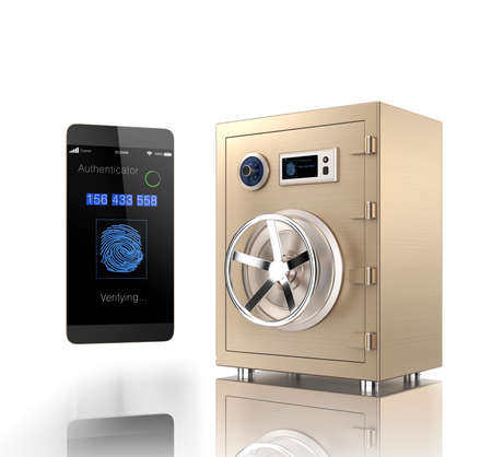 vaulted door: Smart phone authentication app unlock a gold metal safe. Clipping path available.