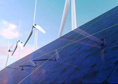solar array: Solar panels and wind generators against blue sky Stock Photo