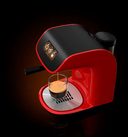 Stylish espresso coffee machine with touch screen. 3DCG Rendering with clipping path.