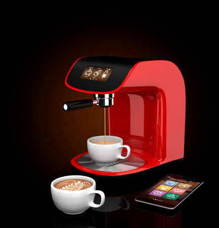 3dcg: Espresso coffee machine with touch screen which could control by smart phone. 3DCG Rendering with clipping path. Stock Photo