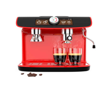 espresso machine: Stylish coffee machine brewing espresso in two glasses. Original design with clipping path.