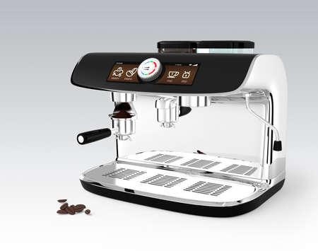 タッチスクリーン付きのスタイリッシュなコーヒーマシン。クリッピング パスを使用した 3D レンダリング イメージ。