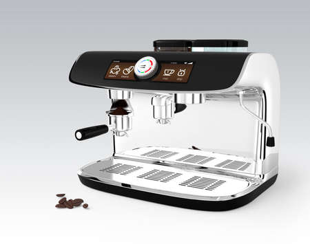 maquina de vapor: Máquina de café con estilo con la pantalla táctil. Imagen 3D con trazado de recorte.