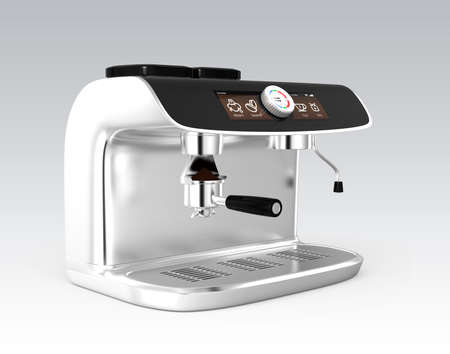 with coffee maker: Stylish coffee machine with touch screen. 3D rendering image with clipping path.