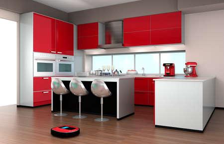 robot: Robotic odkurzacz w nowoczesnym wnętrzu kuchennym Zdjęcie Seryjne