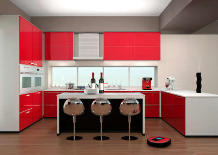 Robotic vacuum cleaner in a modern kitchen interior