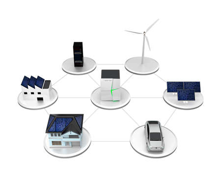 Illustration of stationary battery system. The battery unit can storage electric power from wind and solar generator. Charging for EV or household usage.