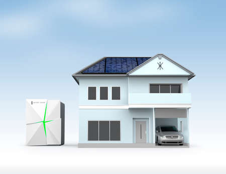 energy grid: Stationary battery system and house. Concept for home energy storage solution Stock Photo