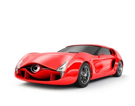 soñar carro: Auto deportivo rojo aislado sobre fondo blanco. Diseño original.