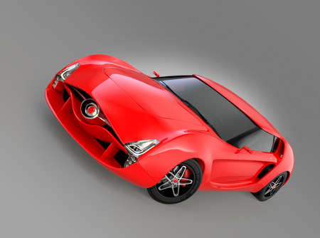 red sports car: Red sports car isolated on gray background. Original design.