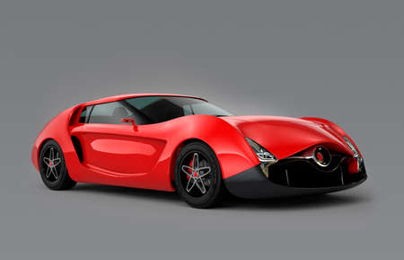super car: Red sports car isolated on gray background. Original design.