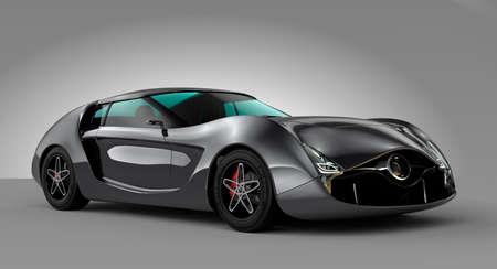 灰色の背景に分離された金属の灰色のスポーツの車。オリジナルのデザイン。  写真素材