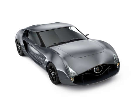 super car: Metallic gray sports car isolated on white background. Original design.