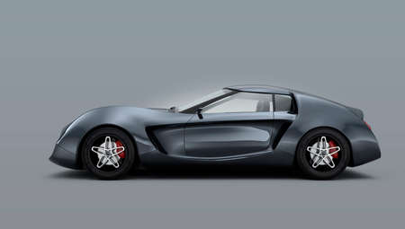 dream car: Metálico auto deportivo de color gris sobre fondo gris Foto de archivo
