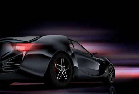 黒の背景に赤いスポーツカーのリアビュー。