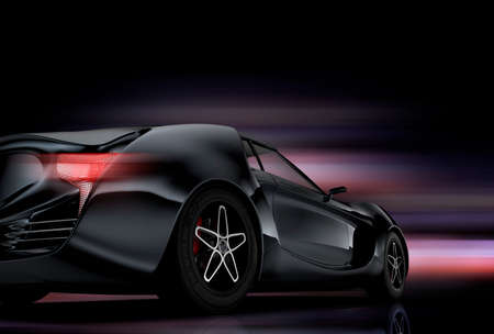 prototype: Rear view of red sports car on black background.
