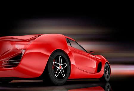 dream car: Vista trasera de un coche deportivo de color rojo sobre fondo negro.