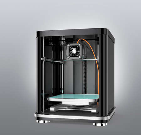 extrusion: 3D printer isolated on gray background. Clipping path available.