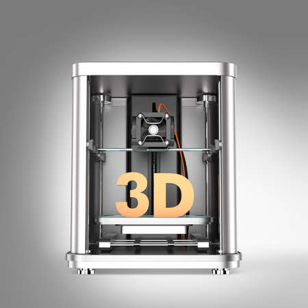 extrusion: 3D printer and solid 3D text inside. Clipping path available.