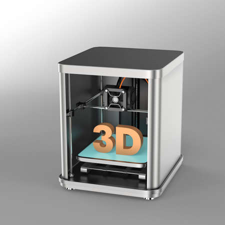 rapid prototyping: 3D printer and solid 3D text inside. Clipping path available.