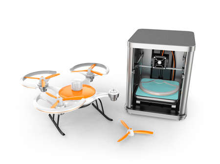 3D printer printing parts of drone for on demand repair service concept. Clipping path available. Stock Photo