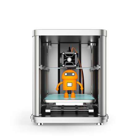 additive: 3D printer and toy yellow robot inside. Clipping path available. Stock Photo