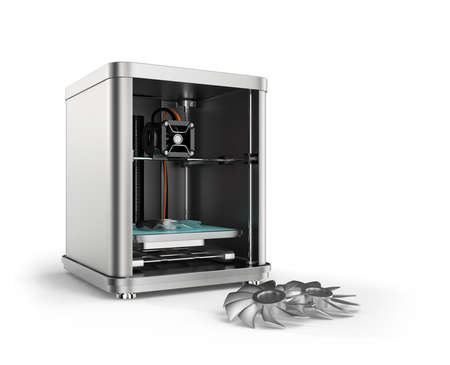 3 D プリンター印刷金属ファンの部品です。3 D 金属印刷の概念。クリッピング パスは利用できます。