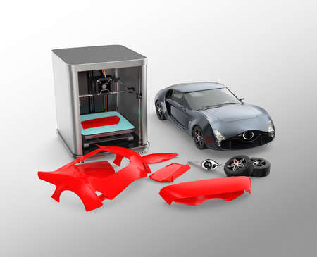 car body: 3D printer printing car body parts. Concept for customize printing service. Clipping path available.