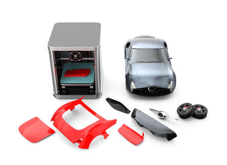 body parts: 3D printer printing car body parts. Concept for customize printing service. Clipping path available.