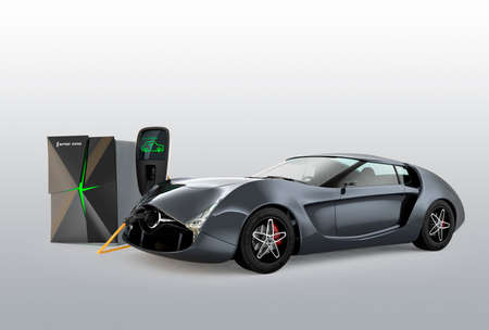 Electric car charging in EV charging station. The charging station power supply by battery storage system. Reklamní fotografie