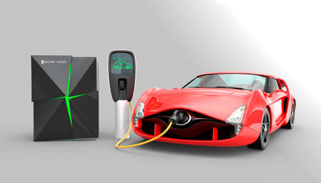 Electric car charging in EV charging station. The charging station power supply by battery storage system.