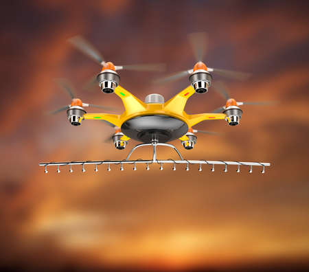 crop sprayer: Hexacopter with crop sprayer flying in the sky