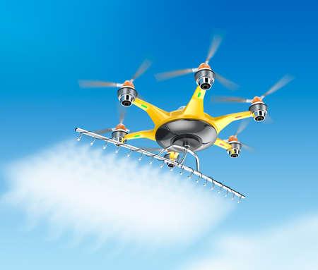 空を飛んでいる作物スプレーで Hexacopter 写真素材