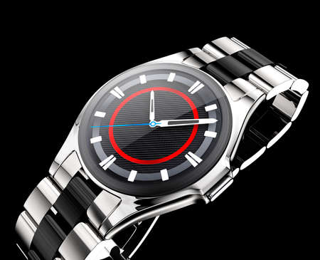 wristlet: Smart watch with metal band isolated on black background.