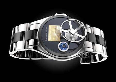 wristlet: Mobile payment security concept for smart watch. Clipping path available.