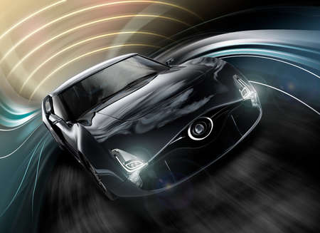 Front view of stylish black sports car with dynamic graphic background. 3D rendering image in original design.