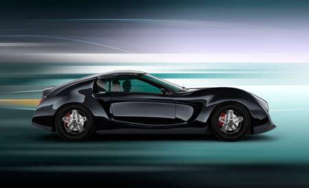 dream car: Vista lateral del elegante coche deportivo negro con fondo de desenfoque de movimiento. Imagen 3D en el diseño original.