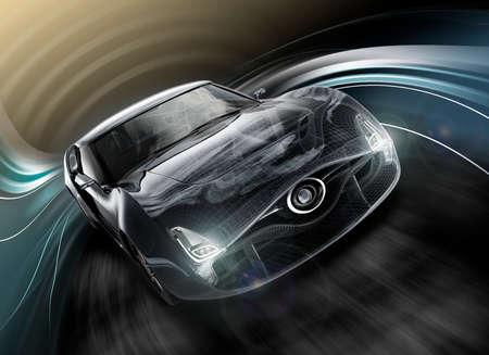 黒のスポーツ車のフロント ビュー。ワイヤー フレームのテクスチャを組み合わせます。オリジナル デザインの 3 D レンダリング画像。