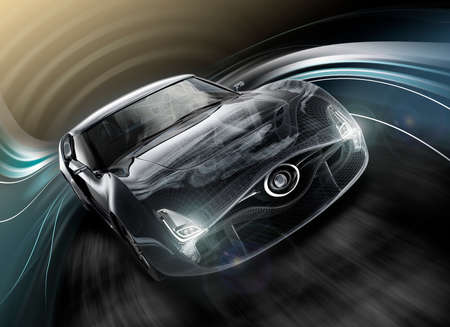 convertible car: Front view of black sports car. Wire frame texture combined. 3D rendering image in original design.
