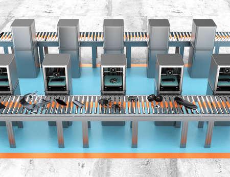 3 D プリンターはラインに配置、ベルト コンベヤーに車の部品を印刷します。需要工場コンセプトに新しい